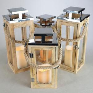 Laterne Holz Windlicht aus Echt holz für Hochzeit leihen 1