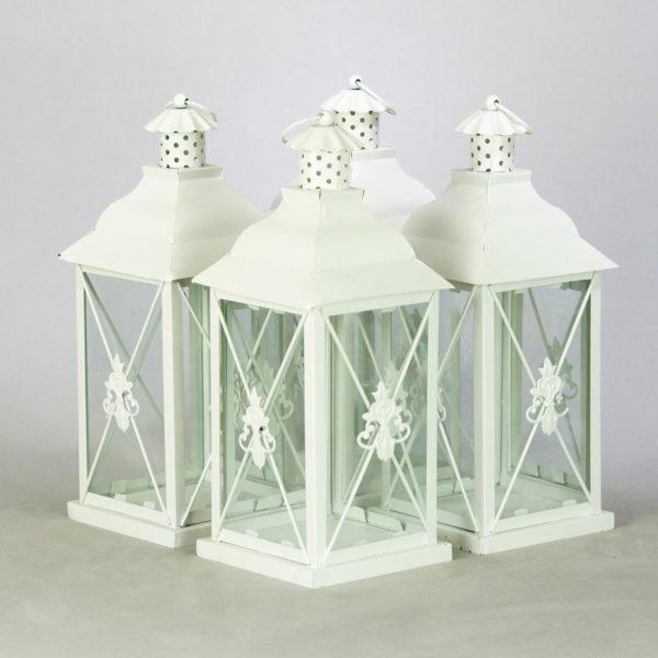 Laterne Windlicht Set Family Classic in weiss für Hochzeit mieten und Dekoration leihen beim Deko Verleih 2
