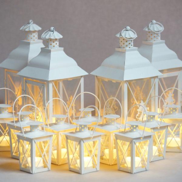 Laterne Windlicht Set Family Classic in weiss für Hochzeit mieten und Dekoration leihen beim Deko Verleih 3