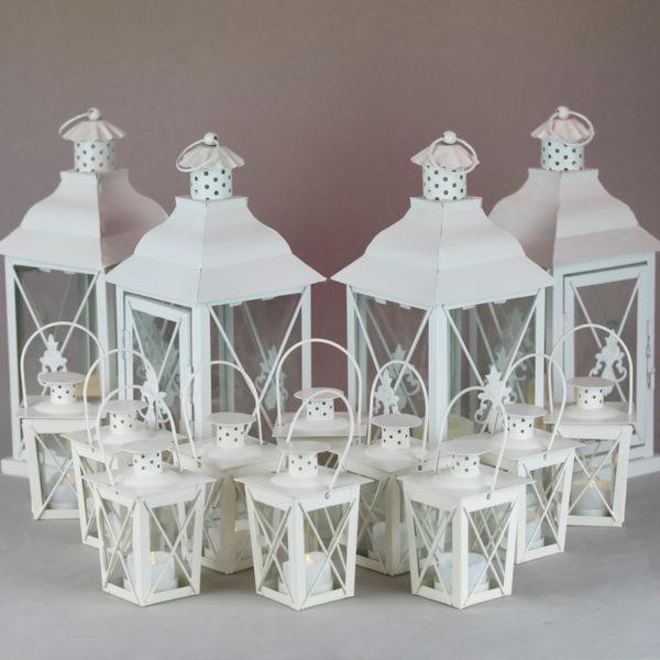Laterne Windlicht Set Family Classic in weiss für Hochzeit mieten und Dekoration leihen beim Deko Verleih 7