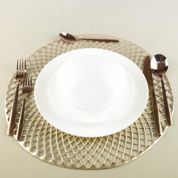 Platztuch Platzteller Platzdecke Bohemia in Kupfer Gold für boho chic hochzeit Unterteller mieten und leihen 2