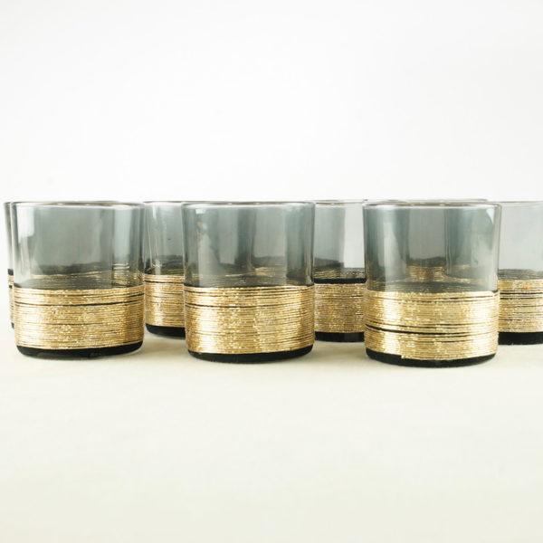 Schwarzes Stockholm Gläser Set gold schwarz glas für blumen und kerzen hochzeit mieten und hochzeitsdeko verleih leihen 8