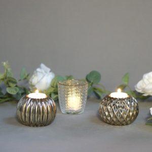 Teelichtglas Bombel Gold teelicht used look glanz für Hochzeit leihen 1