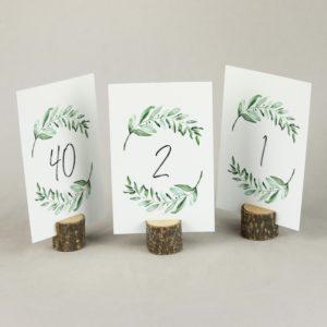 Tischnummer Halter aus Holz rund für Tischdeko Leihen Tisch Nummer Ständer 1