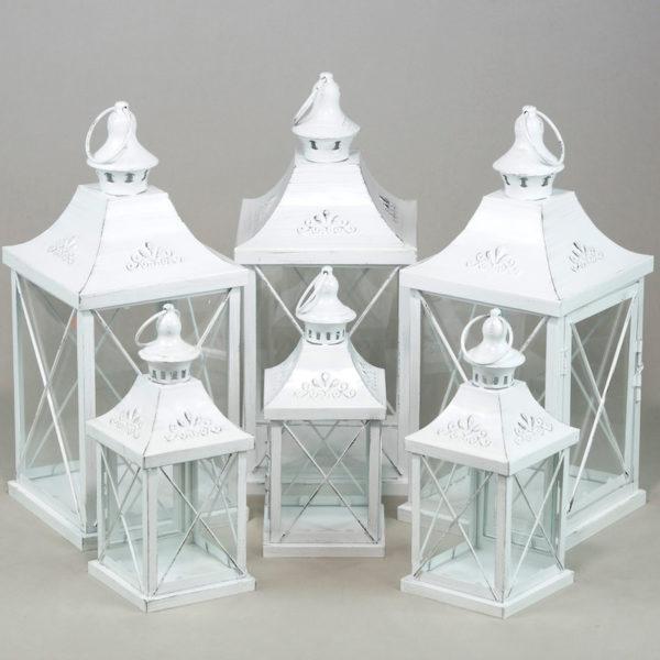 Windlicht Laterne used metallic look in weiß Hochzeitsdeko Verleih und mieten 1