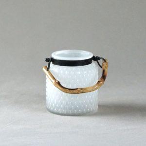 Windlicht Milky Bambus Milchglas weiss Kerzenständer Blumenglas für Hochzeit mieten und leihen 2