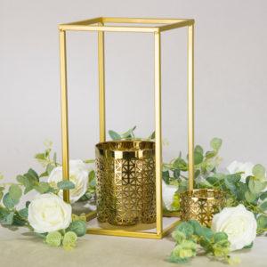 cubos cube 40cm gold für blumen als tischdeko leihen und mieten