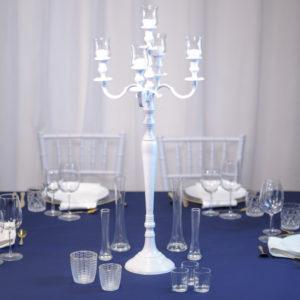blauweiß- Tischdeko für Hochzeit leihen Tisch Dekoration mieten als Set verleih