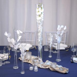 BlauweißTrompete- Tischdeko für Hochzeit leihen Tisch Dekoration mieten als Set verleih