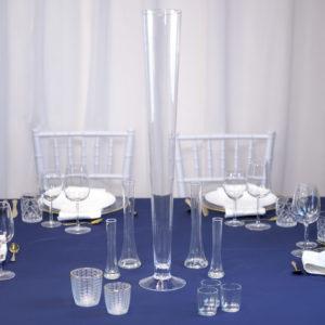 BlauweißTrompeteSet- Tischdeko für Hochzeit leihen Tisch Dekoration mieten als Set verleih