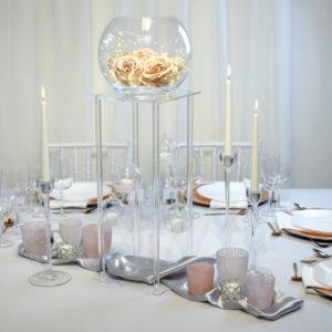 Clear- Tischdeko für Hochzeit leihen Tisch Dekoration mieten als Set verleih