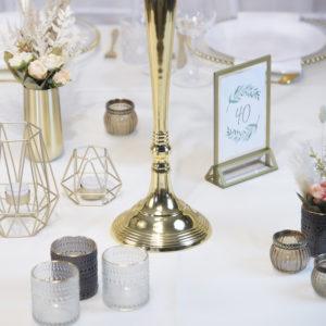 Gold2- Tischdeko für Hochzeit leihen Tisch Dekoration mieten als Set verleih