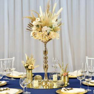 Holy Tischdeko Tischdekoration Set für Hochzeit mieten Avenue Cubos Dekoverleih Gold 1