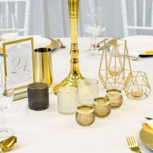 Kerzenständer gold 5 armig für Hochzeit beim Deko Verleih mieten und leihen Frankfurt Hessen Baden Bayern 1 Mira