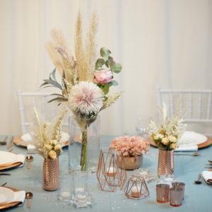 Ros- Tischdeko für Hochzeit leihen Tisch Dekoration mieten als Set verleih
