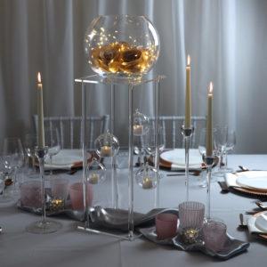 clear2- Tischdeko für Hochzeit leihen Tisch Dekoration mieten als Set verleih