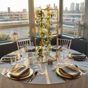 Avenue Road Tischdeko Tischdekoration Set für Hochzeit mieten Avenue Cubos Dekoverleih Gold 1