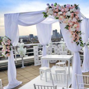 Blumen Set Blumengesteck rosa weiss creme Kerzenständer Stil 1 armig für Hochzeit mieten beim Dekoverleih für Hochzeitsdeko silber elegant edel billig 3