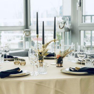 Dekoverleih und Hochzeits Saal schwarz gold Dekoration für Hochzeit mieten und leihen im Boho Design RLP NRW Bayern Hessen 1