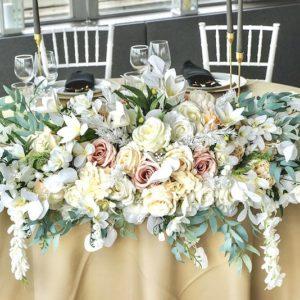 Gesteck für Brautpaartisch Blumengesteck Brautpaar mieten leihen kaufen günstig weiss grün greenery1