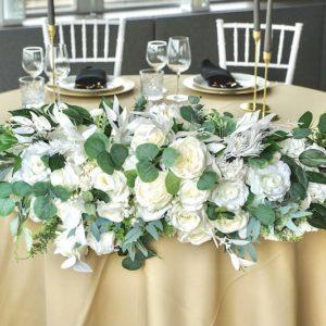 Blumengesteck Gesteck für Brautpaartisch Blumengesteck Brautpaar mieten leihen kaufen günstig weiss grün greenery2
