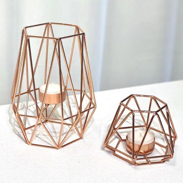 Kerzenständer Boho rose gold rosegold geometrisch bohemian chic dekoverleih mieten für hcohzeit 1