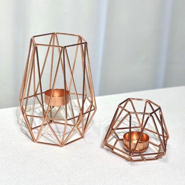 Kerzenständer Boho rose gold rosegold geometrisch bohemian chic dekoverleih mieten für hcohzeit 2
