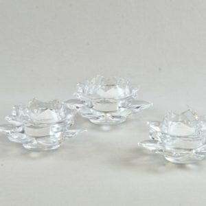Teelichtglas Teelicht Halter Glas Lotus mieten dekoverleih mietshop hochzeitsdeko 1