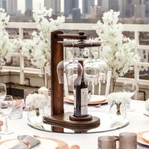 Weinglashalter Wein Sekt Glas Flaschen Halter Ständer für Hochzeit und Event mieten beim dekoverleih verleih 4