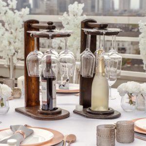 Weinglashalter Wein Sekt Glas Flaschen Halter Ständer für Hochzeit und Event mieten beim dekoverleih verleih 5